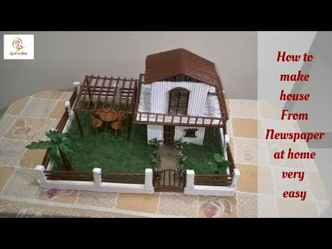 How to make house with newspaper at home | school project-2019