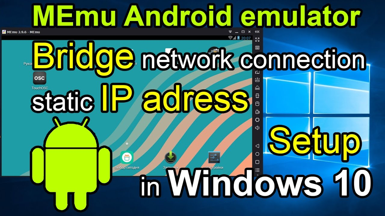 MEmu Android emulator and Virtualbox Bridge Network connection and IP  adress setup in Windows 10