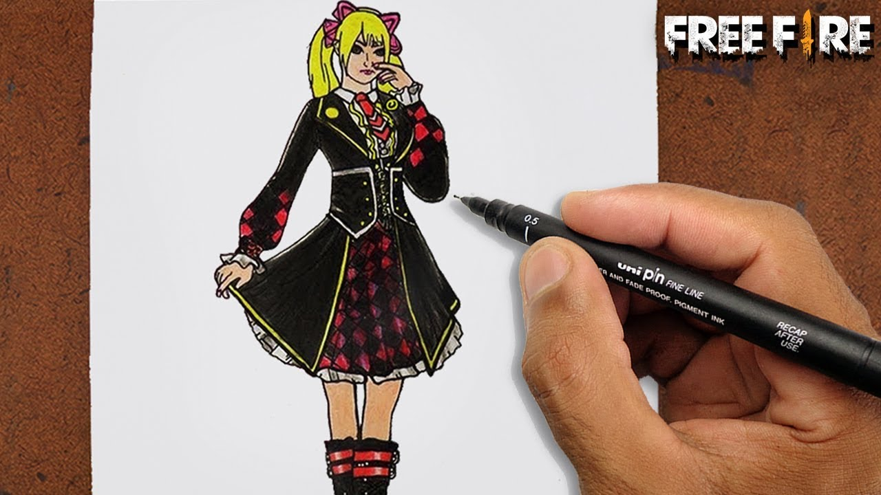 Videos De Dibujos De Free Fire: COMO Desenhar CAROLINE Do FREE FIRE
