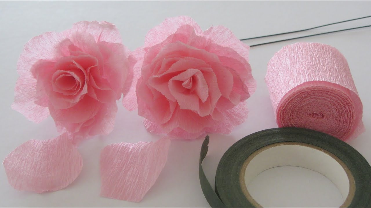 How to make a crepe paper rose craft tutorial youtube mightylinksfo