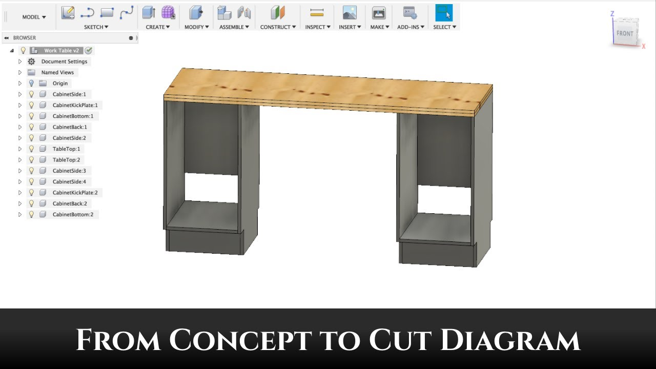 concept to cut diagram - furniture design with fusion 360 part 1