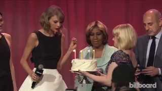 Aretha Franklin Sings 'Happy Birthday' to Taylor Swift