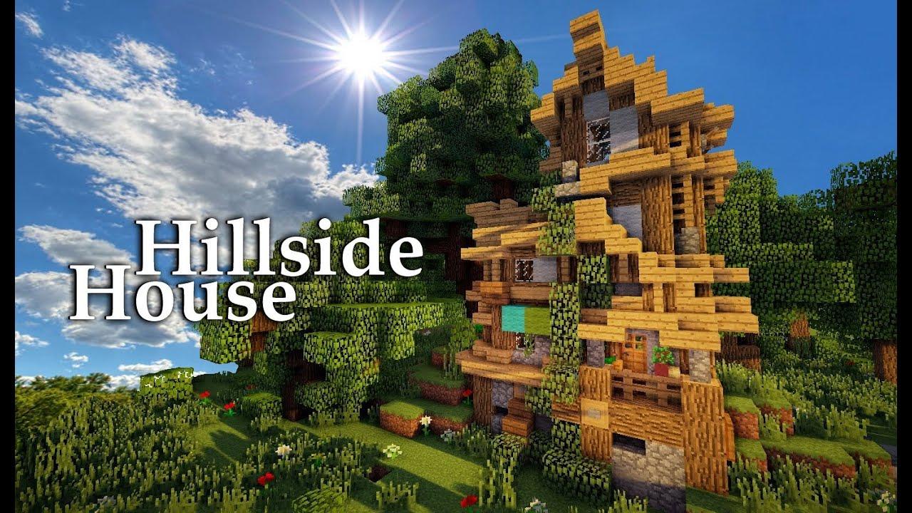 Minecraft medieval hillside house tutorial youtube for Hillside homes