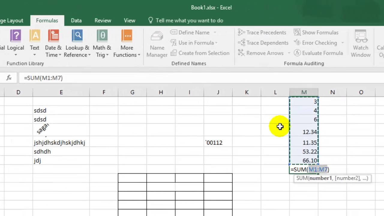 how to add numbers in a column in microsoft excel