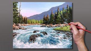 Acrylic Painting Stream Waterfall Landscape