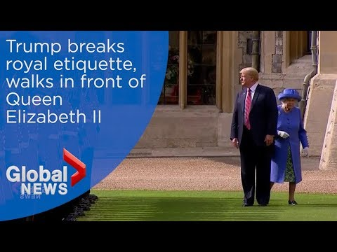 Trump breaks royal etiquette, walks in front of Queen