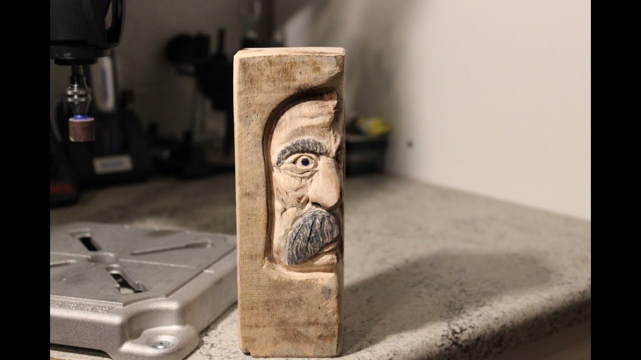 Carving a quot middle aged woodspirit with dremel rotary