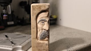 "Carving A ""Middle-aged"" Woodspirit.. :) With Dremel Rotary Tool.  500 Subscribers Thank You!"