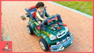 자동차 장난감 군인 트럭 탱크 오토바이 타기 놀이! 뽀로로 과자 어린이 먹방 ♡ 부산 공원 어린이 놀이터 Military Truck Car | 말이야와아이들 MariAndKids