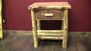 Red Cedar 1 Drawer Log Nightstand From Logfurnitureplace.com