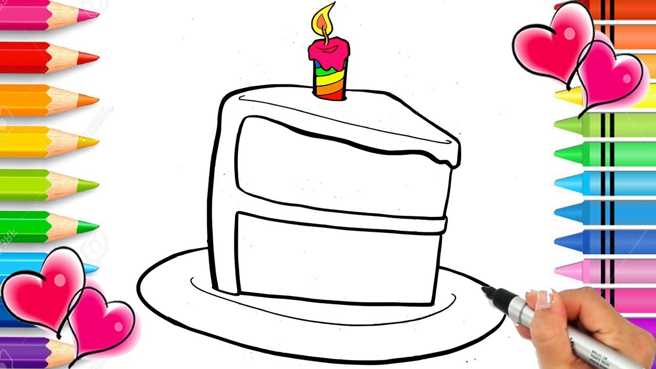 Rainbow Cake Coloring Page   Birthday Cake with Sprinkles Coloring ...
