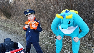 DRAGON vs Kids- The NERF Stealer War featuring park officer cops, handcuffs comedy