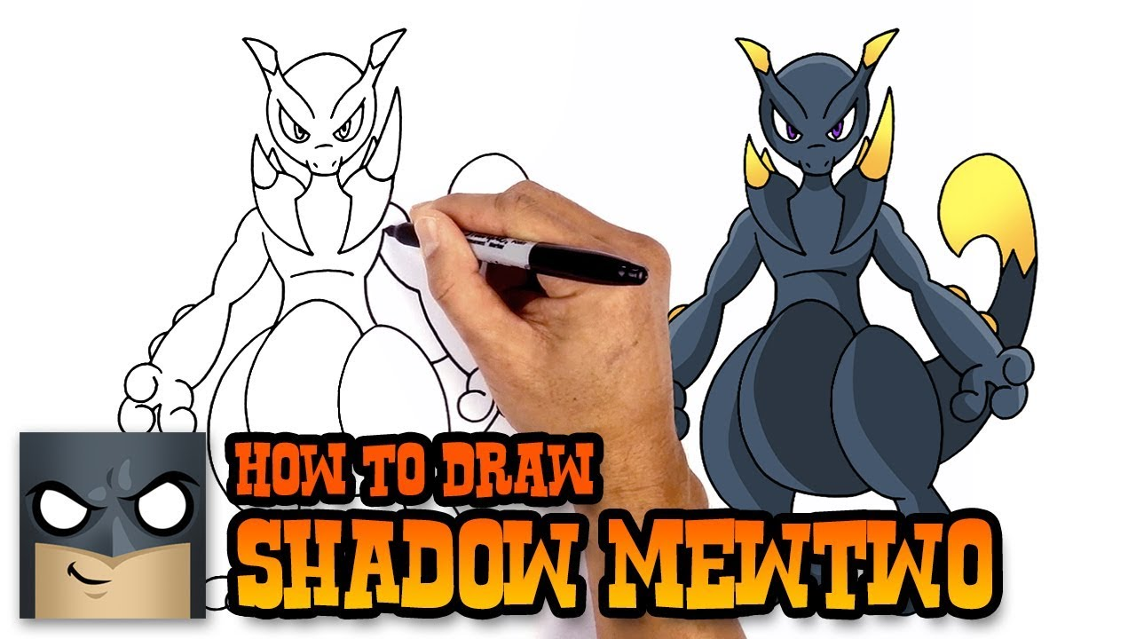 How To Draw Pokemon Shadow Mewtwo Step By Step Youtube