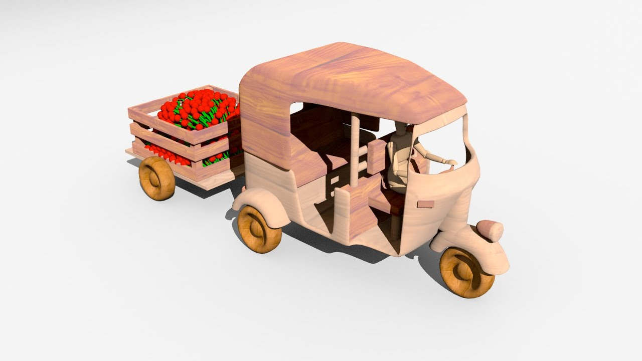 Learn fruits with rickshaw / tuk-tuk - Wooden Toys