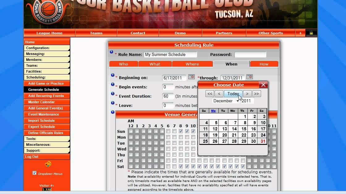 sport schedule generator