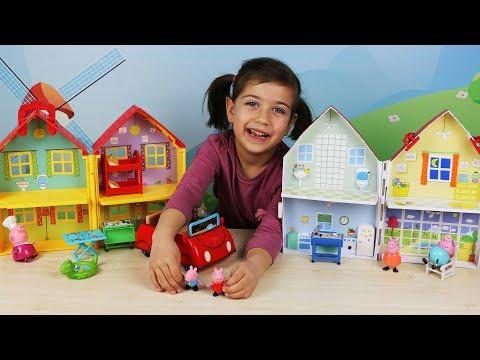 ემილია თამაშობს პეპა გოჭის სათამაშოებით, პეპა გოჭი ოჯახთან ერთად ბრუნდება სახლში