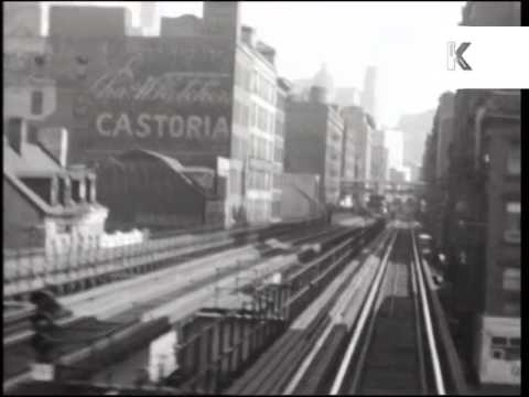 Late 1930s New York, Elevated Railway, Rare Home Movie Archive Footage, Manhattan