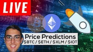 Price Predictions: Bitcoin ($BTC), Ethereum ($ETH), Stellar ($XLM), Cardano ($ADA), & IOTA ($IOT)!