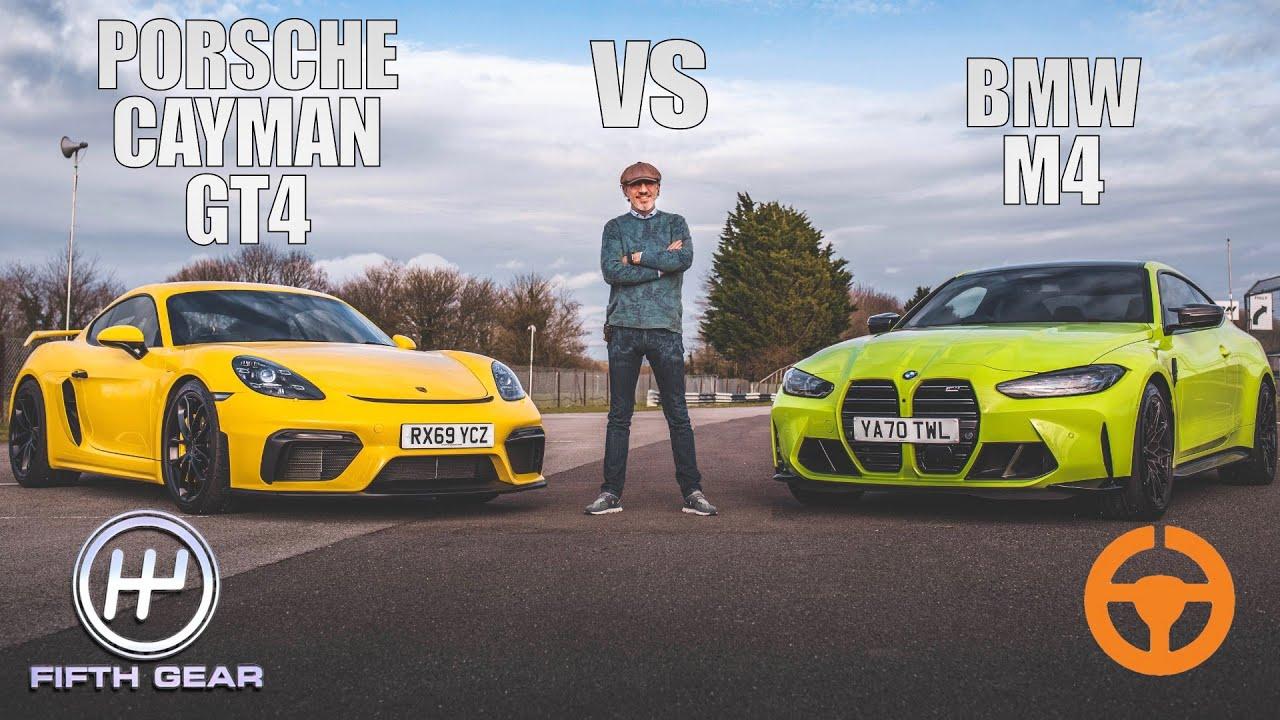 Download New BMW M4 vs Porsche Cayman GT4 - Shootout   Fifth Gear