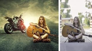 Photoshop tutorial | background change manipulation guitar girl fx effect