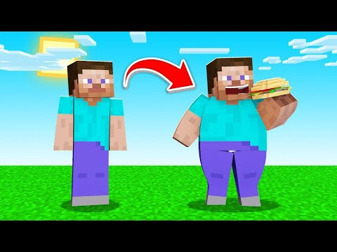 Minecraft BUT FOOD = WEIGHT GAIN! (impossible)