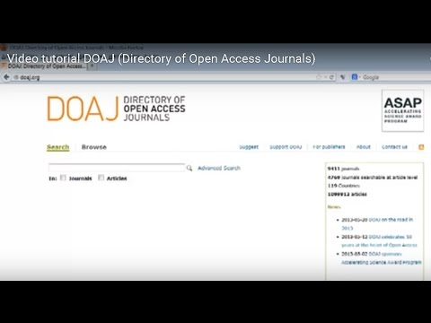 Video tutorial DOAJ (Directory of Open Access Journals)