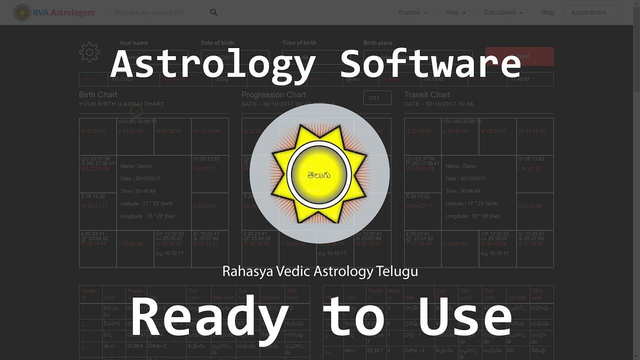 RVA Telugu Astrology Software | Westren, Vedic, KP Astrology Software