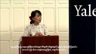 Daw Aung San Suu Kyi  Speech at Yale with Myanmar Substitle