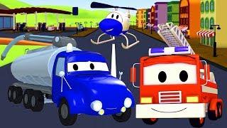 Patrol Policyjny wóz strażacki i radiowózi Tyson nie ma Paliwa | Ciężarówki bajki dla dzieci