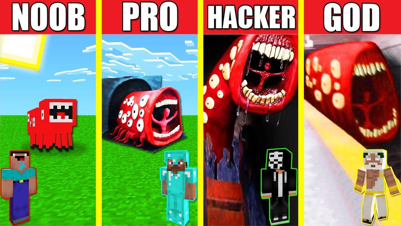 TRAIN EATER TREVOR HENDERSON HOUSE BUILD CHALLENGE NOOB vs PRO vs HACKER vs GOD Minecraft Animation