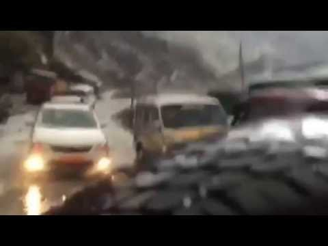 Heavy snowfall during the journey from Nathu la pass