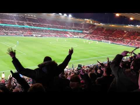 Newport fans reaction to Dolan equaliser v Middlesbrough away
