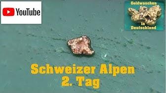 Goldwaschen in Deutschland ( 72 ) ein kleines Nugget  - 2. Tag Schweiz - Goldschürfen