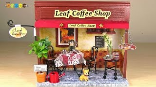 Miniature dollhouse kit Leaf Coffee Shop ミニチュアキット リーフコーヒーショップ作り