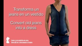 Convert old jeans into a dress