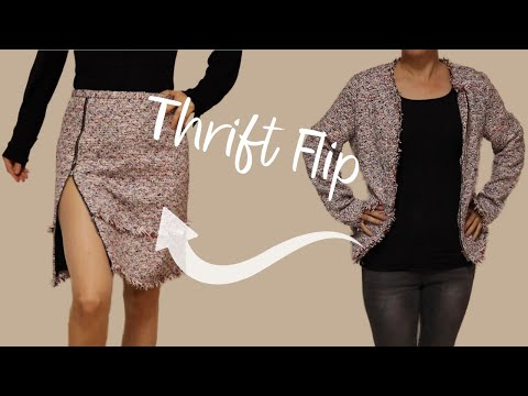 Upcycling Jacket Into A Skirt | THRIFT FLIP #01