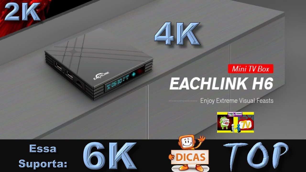 TV Box-EACHLINK H6 Mini-Suporta 6 K H 265-USB3 0 BT4 1-3 GB RAM + 32 GB ROM  2 4G Wi-fi