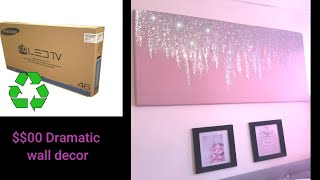 Dramatic Glam Wall Decor With A Cardboard And Kids Craft Items.diy Wall Decor