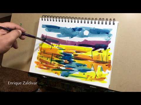 Watercolor, Sketch landscape painting, Loose Brush, Painting techniques, Enrique Zaldivar