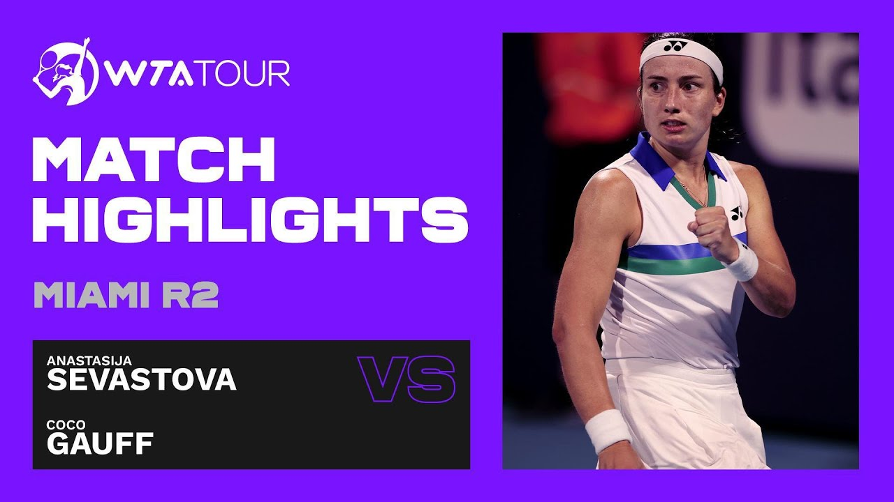 Anastasija Sevastova vs. Coco Gauff | 2021 Miami Round 2 | WTA Match Highlights