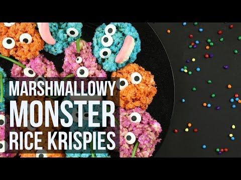Kid Friendly Marshmallowy Monster Rice Krispies   Easy Halloween Dessert Recipe By Forkly