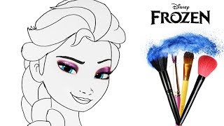 How to Draw & Color Frozen Elsa Disney Princess | Makeup Tutorial Drawing Learning | Learn Kid Color