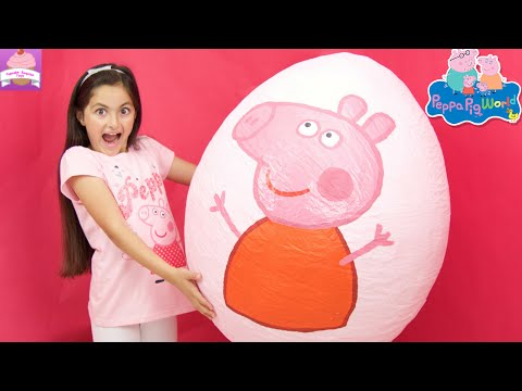Thumbnail: Peppa Pig Giant Surprise Egg Opening! Peppa Pig Toys Unboxing Peppa Pig Theme Park Kinder Eggs
