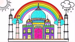DRAW TAJ MAHAL COLORING PAGES FOR KIDS | TAJ MAHAL DRAWING & COLORING FOR LEARN COLORS
