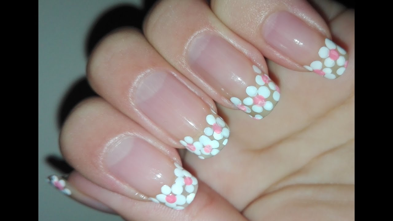 HOW TO DIY French Tips Flower Nail Art Tutorials: Easy French ...