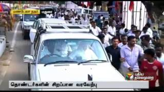 Massive  welcome to  M.k. Stalin in Madurai