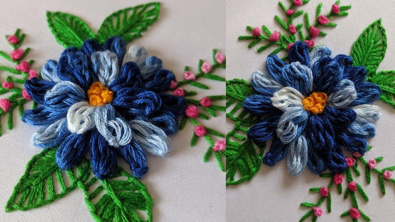 Hand Embroidery Brazilian stitch flower design | Brazilian Embroidery *Amazing Chrysanthemum ...