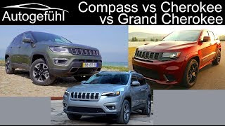 Overview: Jeep Compass vs Cherokee vs Grand Cherokee comparison Jeep SUVs - Autogefühl