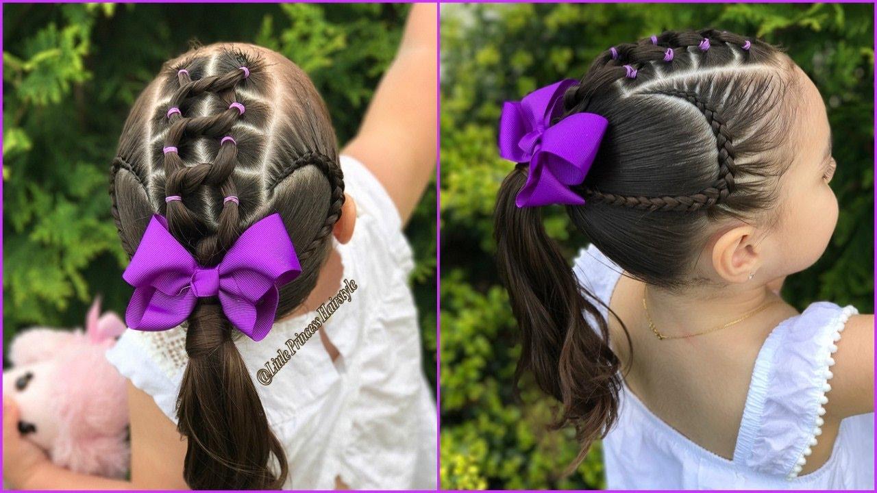 Peinado Para Ninas Con Ligas Y Trenzas Pegadas Peinados Para Ninas