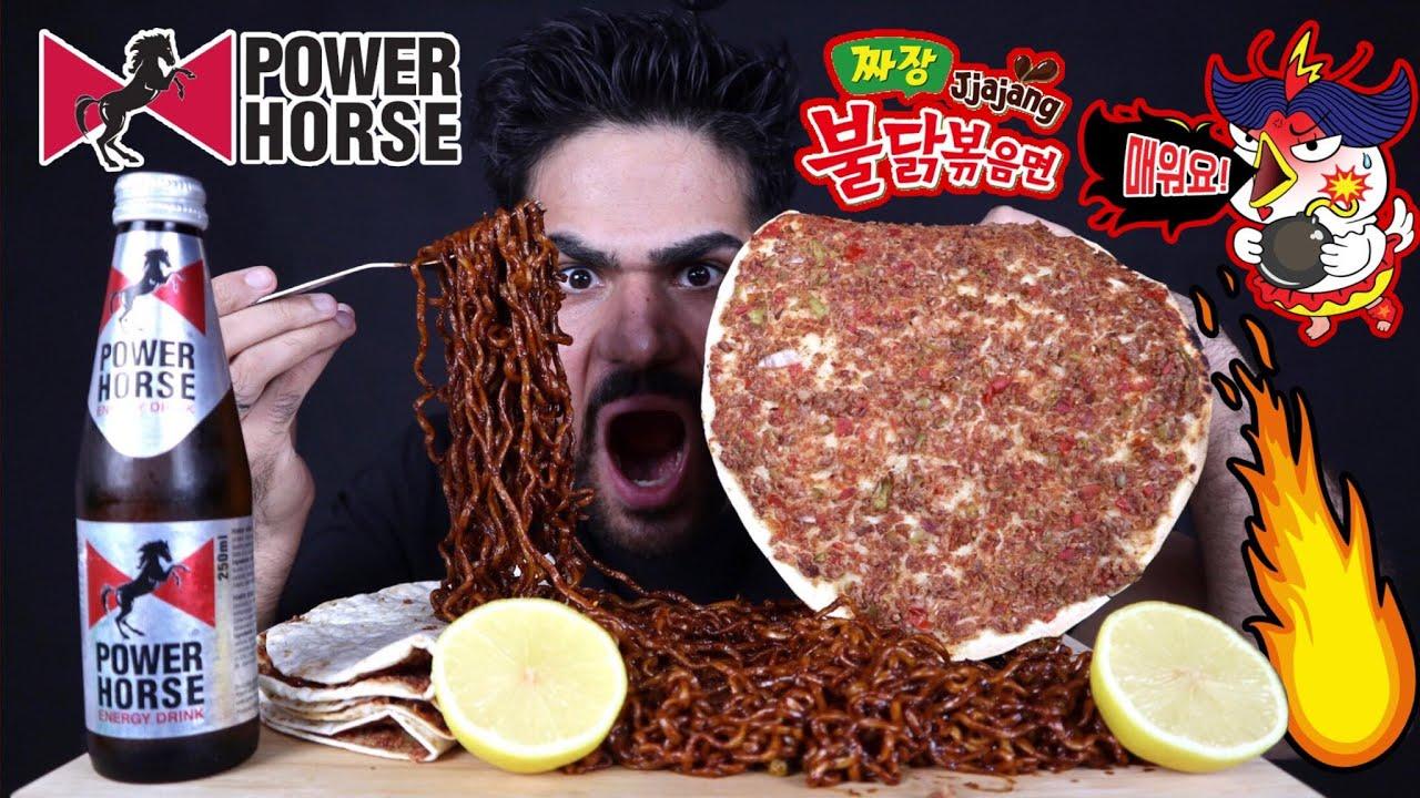موكبانغ لحم بعجين بالليمون مع نودلز كوري حار بالاضافة مشروب الطاقة باور هورس  Korean Noodles Mukbang